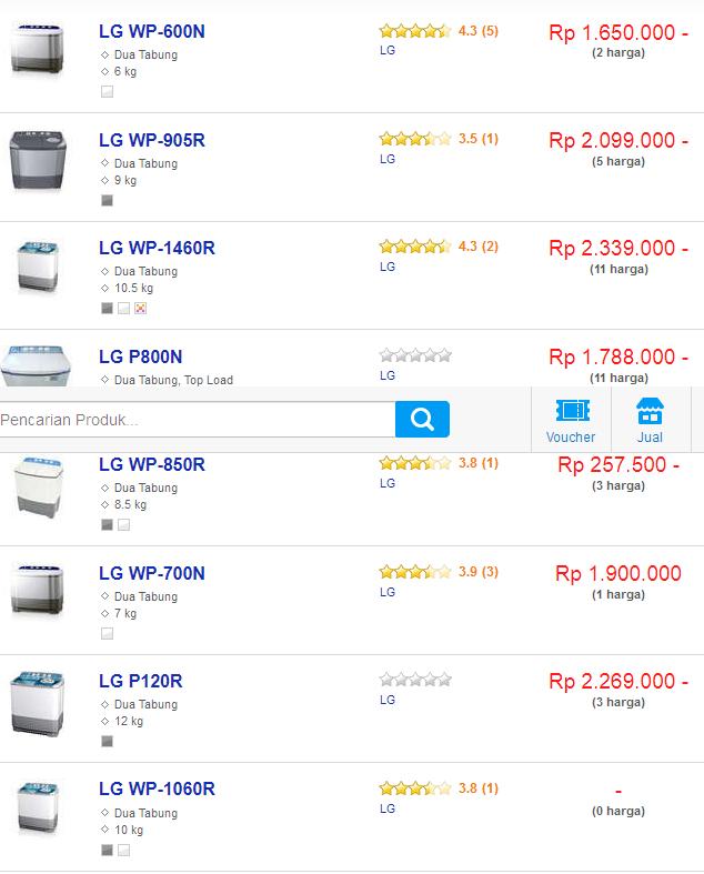 Daftar harga mesin cuci 2 tabung LG terbaru