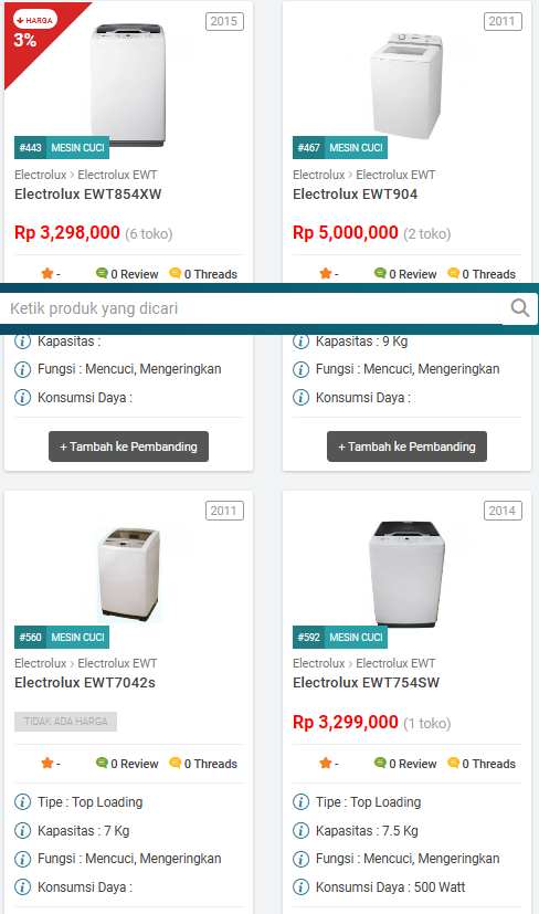 Daftar harga mesin cuci top loading terbaru electrolux